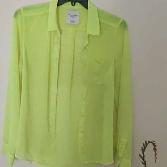 American Eagle Outfitters Tops - American Eagle Outfitters Sheer Neon Blouse EUC